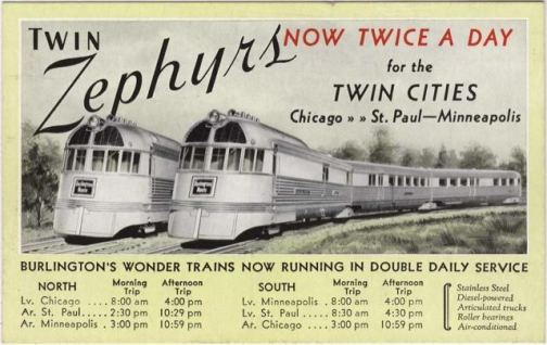 A late 1935 postcard advertising the twice-a-day service of the Twin Cities Zephyrs.| Photo courtesy of Chris Stach