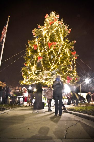 The lighting of the village's Christmas tree at Eight Corners at the Brookfield Holiday Walk on Dec. 5. | Arturo Hidalgo/Contributor