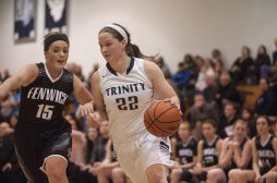 Trinity senior forward Kaitlin Aylward scored a team-high 18 points in a 71-54 victory against rival Fenwick on Thursday, Jan, 7 in River Forest. (William Camargo/Staff Photographer)