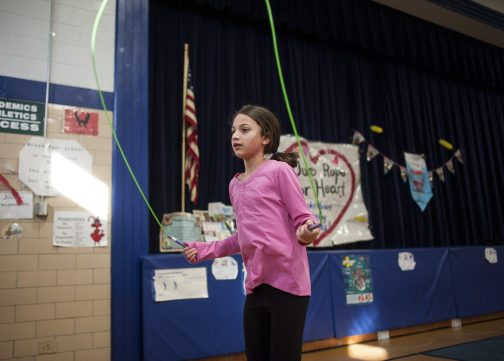 Maria Dalton sets a class record, jumping rope for 6 minutes during the school's Jump Rope for Heart fundraiser on Feb. 19. The annual event raises money for the American Heart Association. This year's event raised more than 0,000. | William Camargo/Staff Photographer
