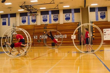 The wheels class performs their routine at the 12th Annual Sokol Spirit Exhibition at Riverside-Brookfield High School on March 5. | Stacey Rupolo/Contributor