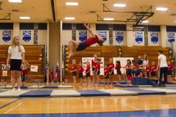 The girls gymnastics class perform various routines at the 12th Annual Sokol Spirit Exhibition at Riverside-Brookfield High School on March 5. | Stacey Rupolo/Contributor