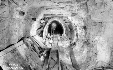 Photo from 1928 show the construction of the Salt Creek Intercepting Sewer. Miners punched through the bedrock to clear way for the sewer pipes, some of them 7 feet in diameter. | Photo courtesy of MWRD