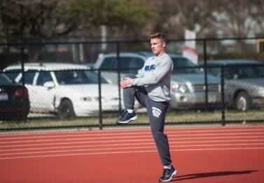 RBHS senior Zach Witken loosens up before a recent practice. (William Camargo/Staff Photographer)