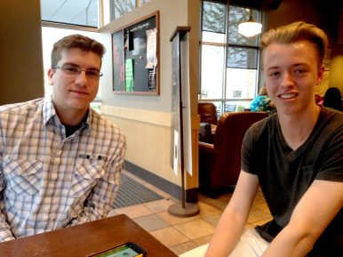 RBHS students Nick Mascitti (left) and Jakob Nordenstam are promoting a new gaming app, which Nordenstam and former German exchange student Johannes Gundlach developed in 2014. | JACKIE GLOSNIAK/Contributer