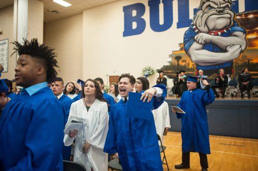 Seniors celebrate after finalizing their graduation ceremony. | William Camargo/Staff Photographer