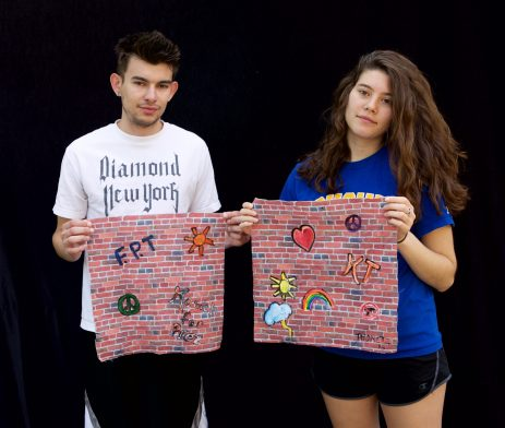 With some brick fabric and fabric paints, you can make a fun, personalized graffiti handkerchief!