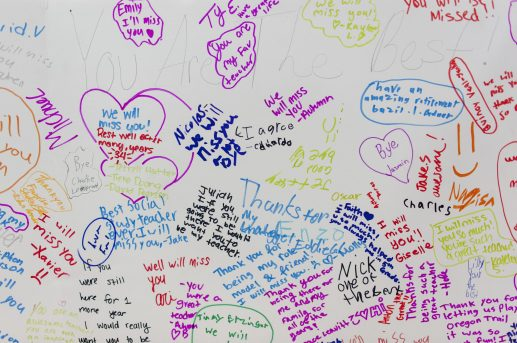 A pasteboard filled with messages to Peg and Nancy during their retiring party. | William Camargo/Staff Photographer