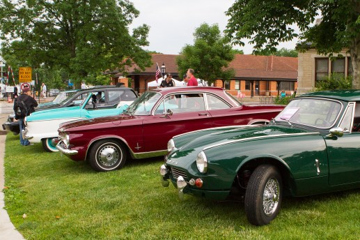 Classic cars line Woodside Road at the first Cruise Night in downtown Riverside on Thursday, June 9. | Stacey Rupolo/Contributor