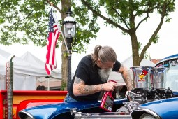 John Show Down cleans his '57 Chevy 150 at the first Cruise Night in downtown Riverside on Thursday June 9. | Stacey Rupolo/Contributor