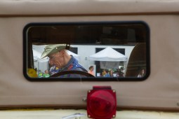 Ron Dust is seen through his 1929 Ford coupe at the first Cruise Night in downtown Riverside on June 9. | Stacey Rupolo/Contributor