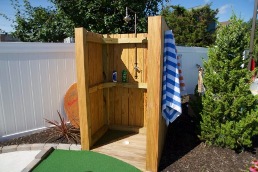 The outdoor shower hole at Lava Golf in Lavallette, New Jersey.