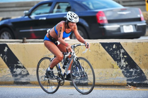 Kathy Braun competing in the Chicago Triathlon.   Photo Courtesy Kathleen Braun
