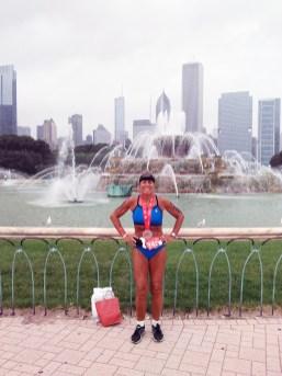 Kathy Braun in front of Buckingham Fountain following the 2015 race.   Photo Courtesy Kathleen Braun