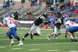 Senior defensive lineman Ellis Taylor, from Oak Park, provides the Friars' with much coveted size and a steady pass rush. (File photo)