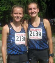 RBHS sophomores Tara Janney (left) and Nadia Kaczmarz were top-50 individual medalists at the First to the Finish Invitational Saturday in Peoria. (Photo by Bill Stone)