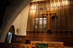 The pipes are screened from view behind the sanctuary. | William Camargo/Staff Photographer