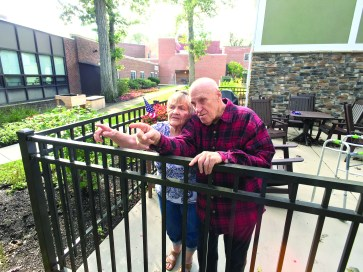 Next-door-neighbors?Mary Ann Mudra, 81,?(left) and?Irving Fencka, 89 (right), enjoy spotting birds off the veranda of the Scottish Home's Caledonian House in North Riverside.   Photo by Kevin J. McCarey