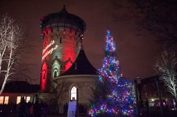 The view of the water tower and christmas tree during the annual Holiday Walk in downtown Riverside. | William Camargo/Staff Photographer