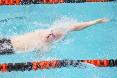 LTHS junior Spencer Walker won the 500-yard freestyle and the 100 backstroke at the West Suburban Conference Silver Division meet. The Lions won the conference title (355 points) for the second year in a row. (Courtesy Alison Credit