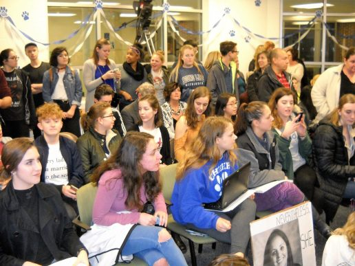 Students crowded the District 208 school board meeting on Feb. 28 to support teacher Jill Musil. (Photo by Bob Skolnik)