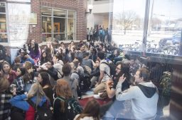 Students packed the atrium at Riverside-Brookfield High School on March 15, staging a sit-in to protest the school's board's decision not to rehire social studies teacher Jill Musil. (William Camargo|Staff)
