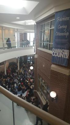 Students packed the atrium at Riverside-Brookfield High School on March 15, staging a sit-in to protest the school's board's decision not to rehire social studies teacher Jill Musil. (Provided)