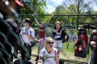 The Riverside softball team gets ready for the Riverside Little League softball game at Big Ball Park on Longcommon Road in Riverside on a cool but sunny Saturday, May 6, a far cry from the previous weekend's complete rain-soaked washout. | William Camargo/Staff Photographer