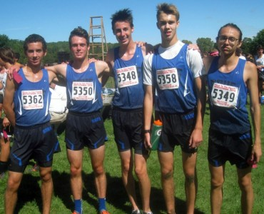 (Left to right))RBHS runners Jacob Wardzala, Connor O'Brien, Jason Noel and Jack Sagan lead the Bulldogs this fall. (Far right) Mateo Nunez graduated in 2016. (Photo by Bill Stone)