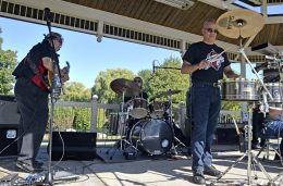 Members of the Chicago-based band, Caliente Old School perform a song for attendees during the Latin Music Fest. | Alexa Rogals/Staff Photographer