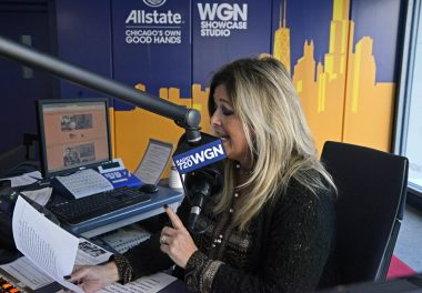 Wendy Snyder on the mike inside WGN's Showcase Studio at the Tribune Tower on Sept. 18. | Alexa Rogals/Staff Photographer