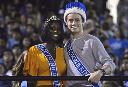 Among the halftime highlights were an appearance by homecoming queen and king, Coretta Dishmon and Matt Dwyer. | Photos by Alexa Rogals/Staff Photographer