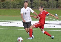 Fenwick's Taras Shikbara (9) goes after the ball on Friday, Sept. 29, 2017, during a soccer game against St. Joseph at Priory Park in River Forest, Ill. (Alexa Rogals/Staff Photographer)
