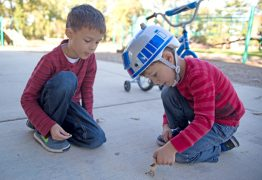 Brothers Michael, 7, left, and Noah Kulikauskas, 4, inspect a bug on the ground on Monday, Oct. 16, after school at the Kiwanis Park playground in Brookfield.   Alexa Rogals/Staff Photographer
