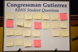 A board with questions for Illinois Congressman Luiz Gutierrez from RBHS students is seen on Oct. 30, during a town hall meeting in the auditorium at Riverside Brookfield High School. | Alexa Rogals/Staff Photographer