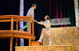 """Matt Dwyer, as Demetrius, and Casey Whisler, as Helena, act a scene during a dress rehearsal for Shakespeare's """"A Midsummer Night's Dream"""" in the auditorium at Riverside-Brookfield High School on Nov. 4.   Alexa Rogals/Staff Photographer"""