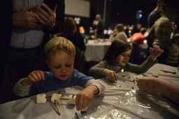 Children make arts and crafts out of different foods during the Riverside Winter Hootenanny at Beyond Words Dance Center.   Alexa Rogals/Staff Photographer
