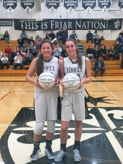 Seniors McKenzie Blaze, left, and Kate Moore both scored over 1,000 points at Fenwick. The two Landmark all-stars powered the Friars to a sectional final this season. (Courtesy Twitter/@FenwickAD)