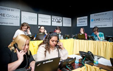 Volunteers answer phone calls to raise money on March 10, during the 2018 Riverside Brookfield Educational Foundation telethon at Riverside Brookfield High School. | Alexa Rogals/Staff Photographer