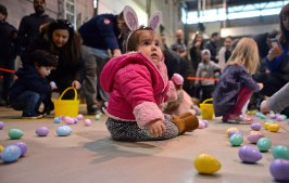 Dozens of kids and their parents crowded inside the Riverside Public Works facility in Riverside Lawn on a very brisk March 24 for the village's annual Easter Egg Hunt. | Alexa Rogals/Staff photographer