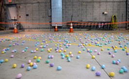 Easter eggs are seen scattered in an area on March 24, inside the Riverside Public Works facility in Riverside Lawn for the village's annual Easter Egg Hunt. | Alexa Rogals/Staff photographer