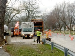 Trucks and workers will crowd Arden Avenue for the next couple of weeks, completing a sewer-lining project.   BOB UPHUES/Editor