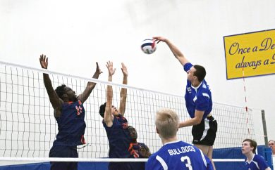 RBHS senior Jason Bageanis elevates for an emphatic kill during a match this season. In 59 sets played, the 6-foot-5 Bageanis has 183 kills and 42 blocks. (Courtesy Jim Bageanis)