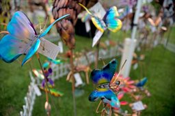 Hand made copper butterfly sculptures are seen for sale from Jay Kirk, of Mount Pleasant, Iowa, on May 19, during the annual Riverside Arts Weekend, at Guthrie Park in Riverside. | Alexa Rogals/Staff Photographer