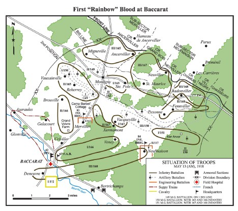 Map showing the location of units comprising the 42nd Division in and around Baccarat, France in March-June 2018. Rev. Hedley H. Cooper ran a YMCA canteen for the 168th Regiment of the division, whose troops occupied front line positions near Badonviller, in the Village Negre sector. The map is courtesy of Croix Rouge Farm Memorial Foundation, whose website can be found at: http://croixrougefarm.org/history-42nd/