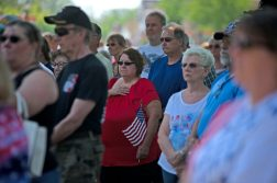 Those in attendance listen to speakers on May 28, during a Memorial Day Veterans ceremony at Veterans Park in Brookfield. | Alexa Rogals/Staff Photographer