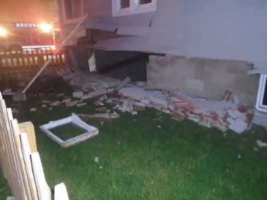 An explosion on May 29 tore a 10-by-4-foot hole in a basement wall at 3939 Prairie Ave. in Brookfield. No one was injured. (Photo courtesy of the Brookfield Police Department)