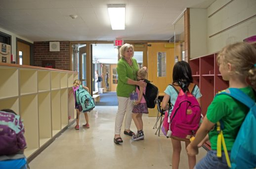 Retiring teacher Judy Sayre hugs students as they leave on the last day of school on June 7, at Blythe Park Elementary School in Riverside.   Alexa Rogals/Staff Photographer