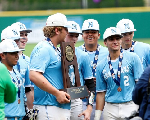 Several members of the Nazareth Academy baseball team gather together to show off the Roadrunners' Class 3A third-place trophy. (Courtesy of Nazareth Academy)