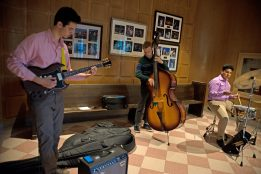From left, Ryan Michaud, Owen Frankel and Alejandro Salazar, OPRF Jazz Band members, perform songs for attendees. | Alexa Rogals/Staff Photographer